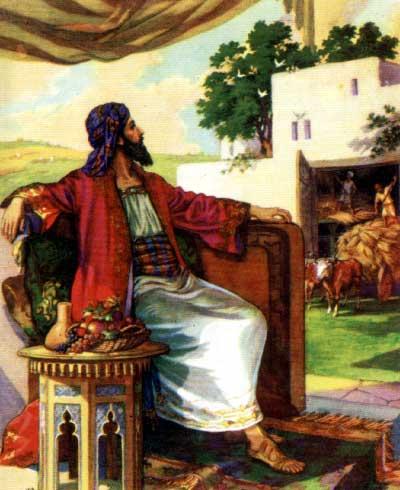 Выражение возникло из евангелия (лука, 16, 20-21), из притчи о нищем лазаре, который лежал в струпьях у ворот богача